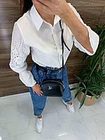 Хлопковая белая рубашка прямого кроя с рукавами из прошвы (р. 42-44) 82mru495