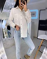 Женская льняная рубашка оверсайз с карманом на груди (р. 40-52) 20mru496