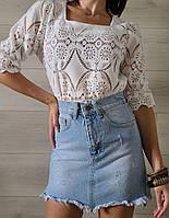 Кружевная летняя блуза с квадратным вырезом и рукавом до локтя (р. 42-46) 79mru497