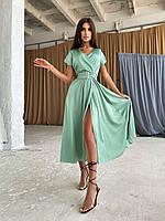 Летнее шелковое платье миди с верхом на запах и широким поясом на талии (р. S-L) 66mpl2569Е