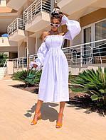Льняное летнее платье миди с открытыми плечами и объемными длинными рукавами (р. 42-46) 5mpl2579