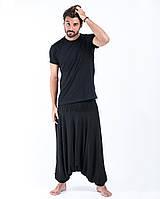 Мужские брюки афгани с заниженной мотней черные штаны алладины