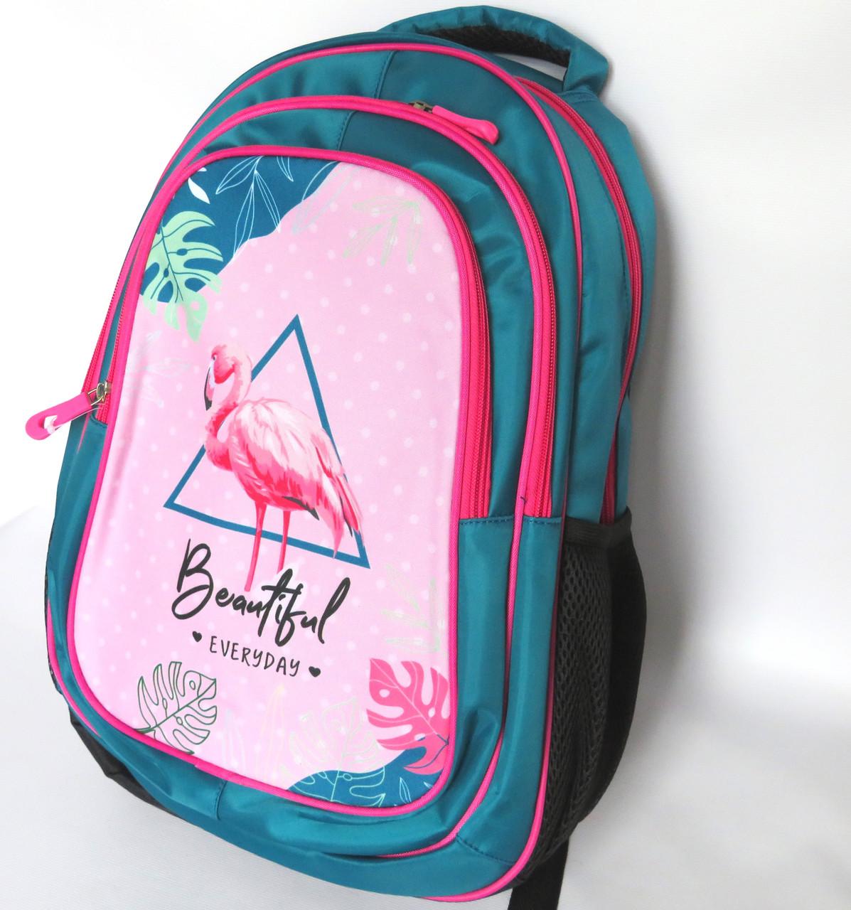 Шкільний рюкзак для дівчинки розмір М, зелено-рожевий, Фламінго