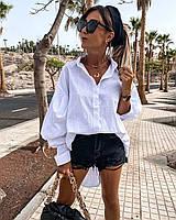Удлиненная рубашка белая льняная женская с широким рукавом (р. 42-46) 73mru499