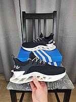 Кроссовки на лето Adidas черно-белые мужские. Кроссы черные с белым Адидас для парней летние. Обувь летняя