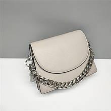 Сумка клатч с декоративной цепочкой спереди / натуральная кожа (388) Серый