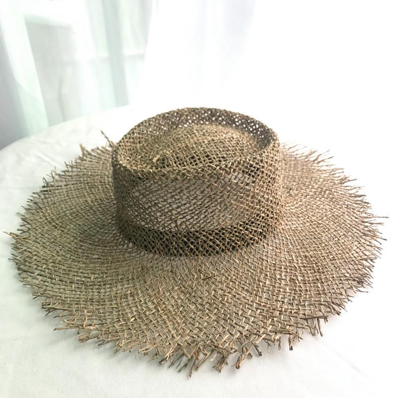 Бежева солом'яний капелюх з коричневим обідком Beiger