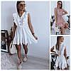 Р 42-48 Літній лляне плаття-сарафан з рюшами 23989
