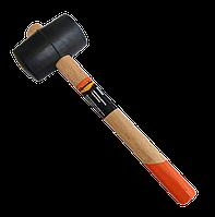 Киянка гумова, 450 г, чорна гума, дерев'яна ручка, фото 1