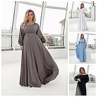 Р 42-60 Ошатне лляне довге літнє плаття Батал 23993-1