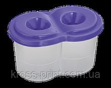 Стакан-непроливайка с двумя отделениями, фиолетовая