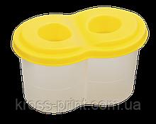 Стакан-непроливайка с двумя отделениями, желтая