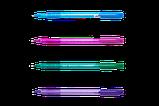 Ручка масляна SILK, 0,5 мм, трехгр. корпус, сині чорнила, фото 2