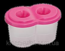 Стакан-непроливайка с двумя отделениями, розовая