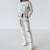 Стильный детский спортивный костюм для девочки двунитка молочного цвета Нью-Йорк
