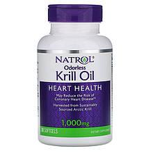 """Масло криля Natrol """"Odorless Krill Oil"""" жирные кислоты для здоровья сердца и суставов, 1000 мг (30 капсул)"""