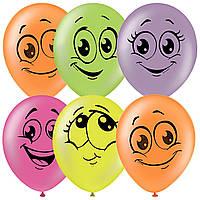 Латексные воздушные шары Globos Payaso Улыбка, шарики с улыбчивыми  мордочками 10 25 см, 5шт