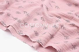 Муслин жатка Веточки на пыльно-розовом 135 см