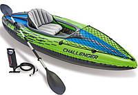 Лодка байдарка надувная 274х76х33 см Challenger К1 Kayak Intex 68305, ремкомплект, весло 210 см, насос