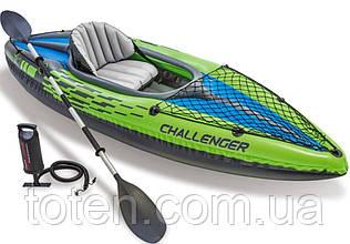 Човен надувна байдарка 274х76х33 см Challenger К1 Kayak Intex 68305, ремкомплект, весло 210 см, насос