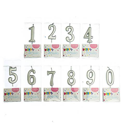 """Свечи для торта """"Яркость"""" от 0 до 9, серебряные, фото 2"""