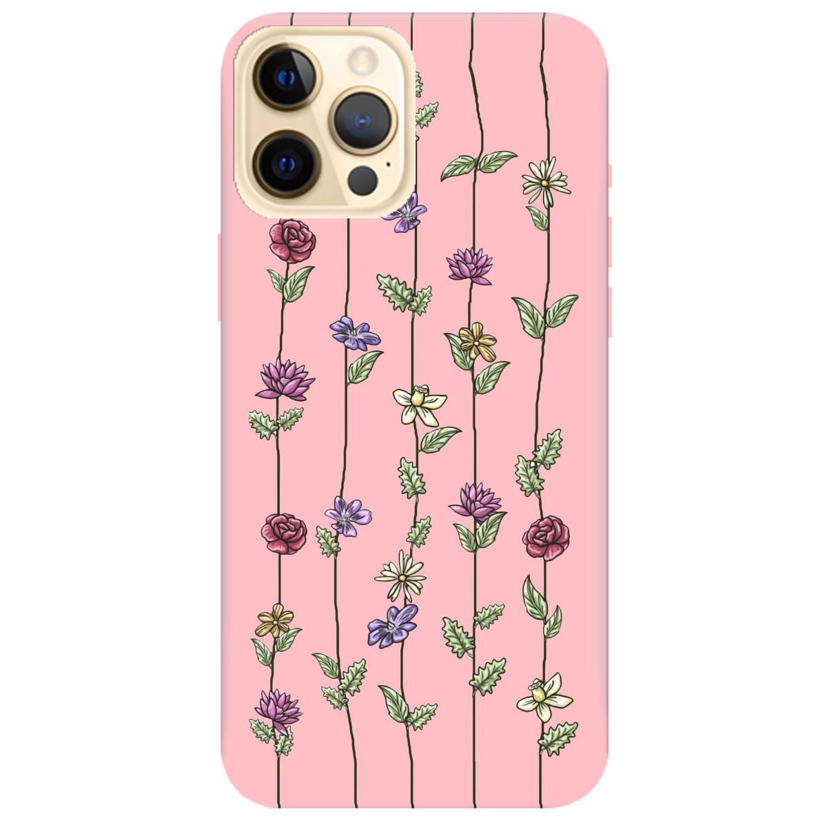 Чехол для Apple iPhone 12 Pro нежно-розовый матовый soft touch Vines