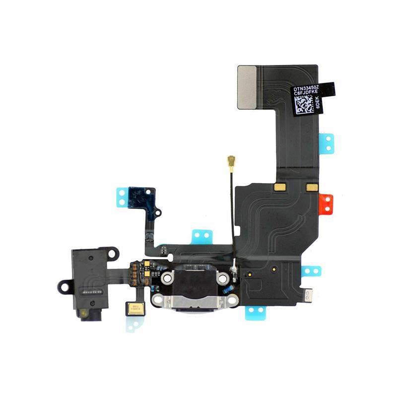 Шлейф с разъемом зарядки, наушников и микрофоном для iPhone 5S Black