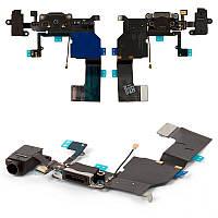 Шлейф з роз'ємом зарядки, навушників і мікрофоном для iPhone 5C Black
