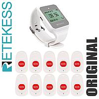 Система вызова медперсонала беспроводная RETEKESS TD108MED, часы с русским меню, 10 SOS кнопок