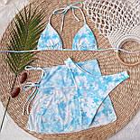 Жіночий купальник трійка з розводами, ліф шторки і спідниця із сітки в комплекті (р. S, M) 7725866, фото 5