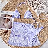 Жіночий купальник трійка з розводами, ліф шторки і спідниця із сітки в комплекті (р. S, M) 7725866, фото 4