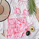 Жіночий купальник трійка з розводами, ліф шторки і спідниця із сітки в комплекті (р. S, M) 7725866, фото 6