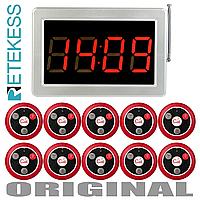 Система вызова официанта беспроводная RETEKESS F3290kit1, LED приёмник - табло + 10 пультов на 4 кнопки