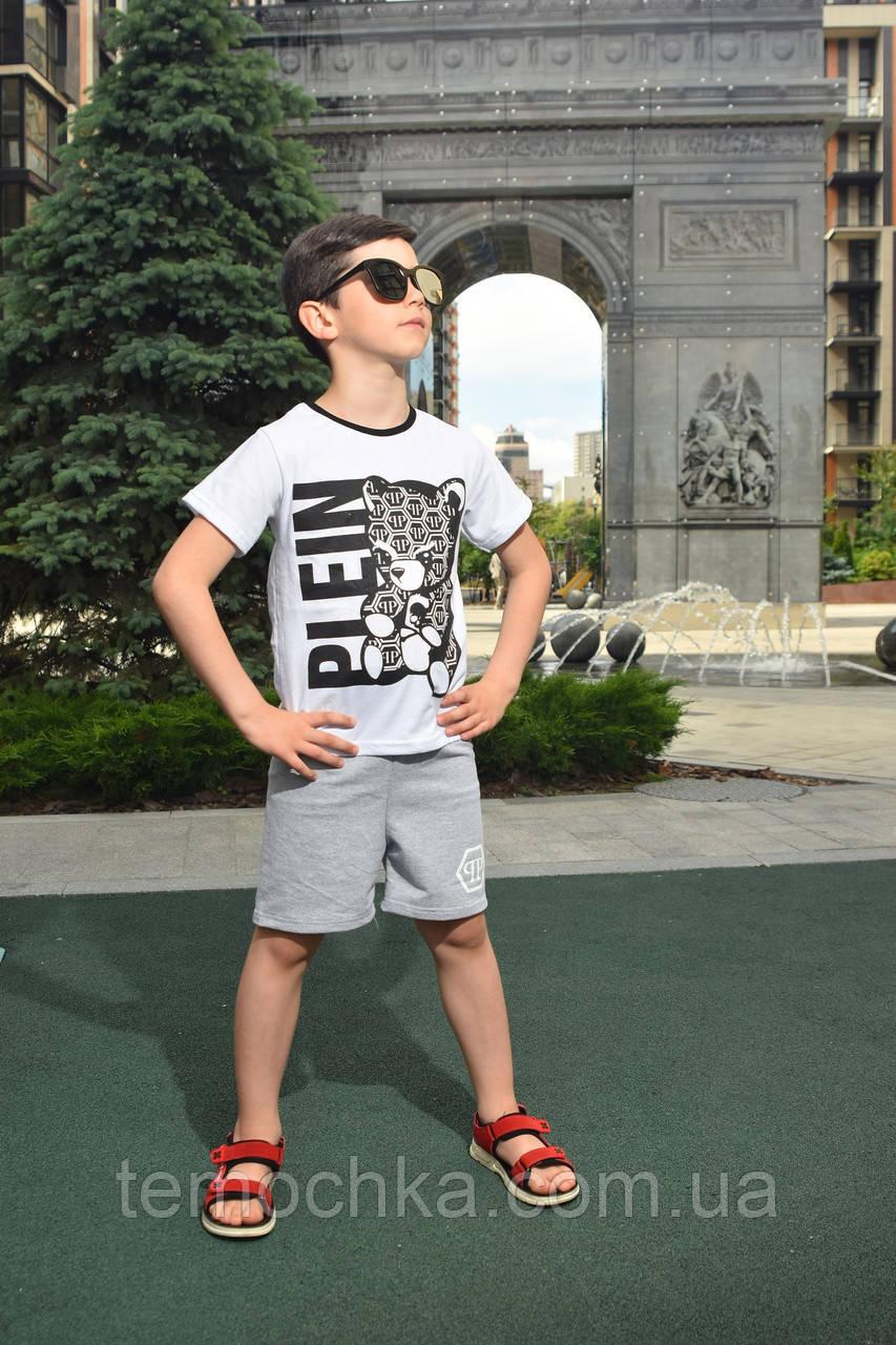 Літній комплект костюм для хлопчика з шортами і футболкою Плейн