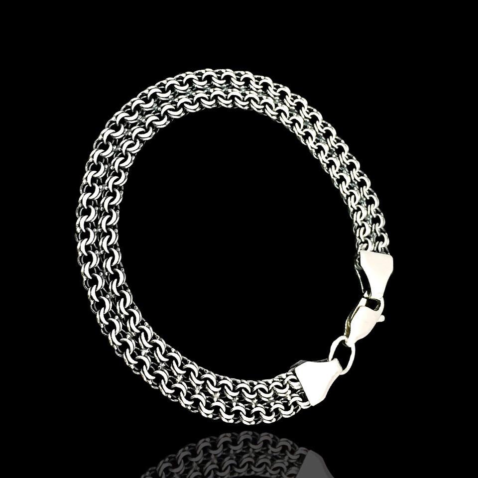 Срібний браслет, 175мм, 11 грам, плетіння подвійний Бісмарк, чорніння