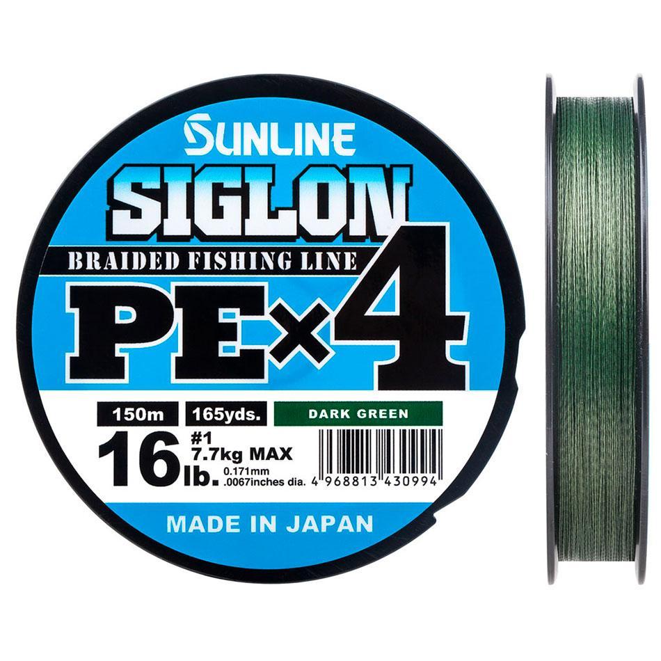 Шнур Sunline Siglon PE х4 150m (темн-зел.) #2.0/0.242mm 35lb/15.5kg