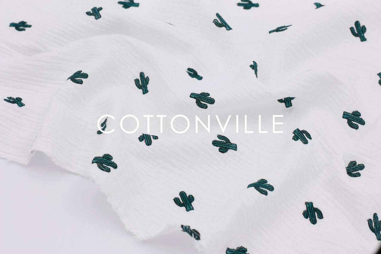 Муслин жатка Кактусы на белом 135 см