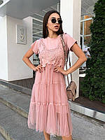 Летнее женское модное платье 2 в 1 с красивой вышивкой