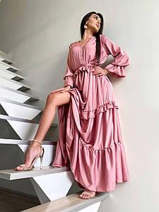 Длинное пышное платье с оборками и поясом 42-48 р
