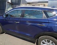 Хромированные дефлекторы окон, ветровики Hyundai Tucson 2015-2020 (D622), фото 1