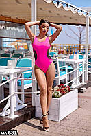 Женский слитный купальник с сеткой 2 цвета С, М +большие размеры