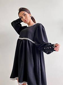 Платье свободного кроя с кружевом и завышенной талией 42-48 р