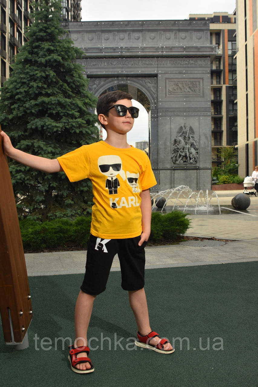 Летний комплект набор для мальчика футболка и шорты Лагерфилд Karl Lagerfeld