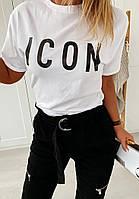 Женская футболка с принтом ICON размер один 42-46. Модная футболка женская