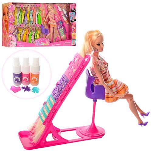 Лялька з вбранням 68033 шарнірна, довге волосся, сукні, стілець, фарба для волосся, кор.,66-33-11см.