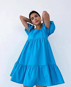 Летнее пышное платье с квадратной открытой спинкой 42-46 р