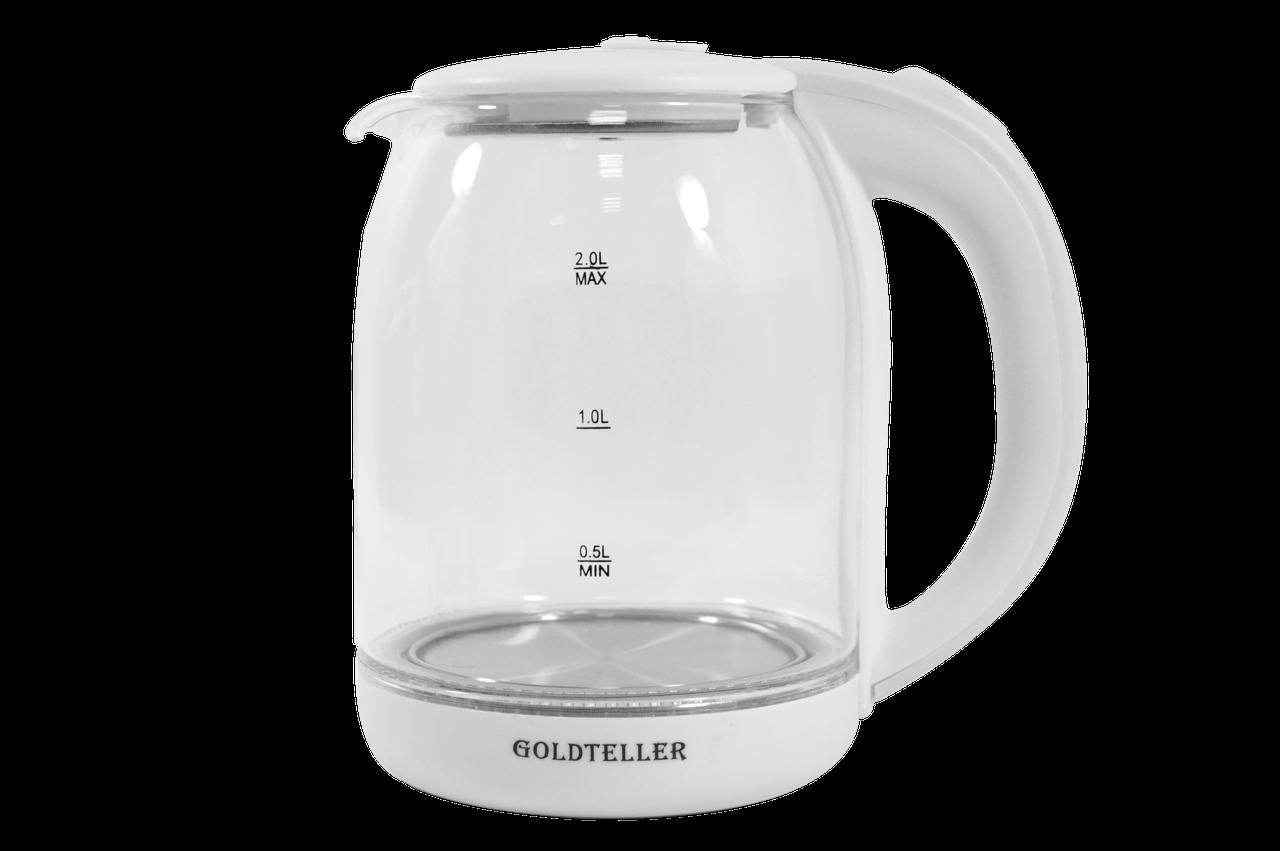 Стеклянный Электрический чайник Goldteller MG-06 (220V, 50HZ 1500W, 1.8L) белый