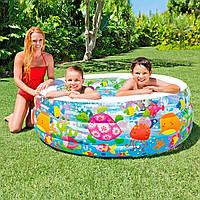 Детский надувной бассейн с надувным дном 152х56 см Аквариум Intex 58480