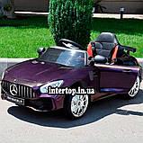 Детский электромобиль на аккумуляторе Mercedes M 4105 с пультом радиоуправления 3-8 лет автопокраска пурпурный, фото 4