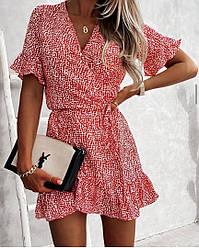 Женское короткое летнее платье на запах